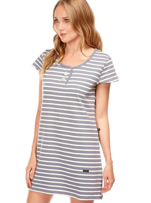 Short dress in striped cotton TAHITI