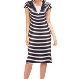 Long dress in striped cotton TOLEDE