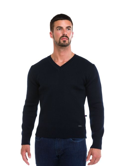 ALAIN sweater men V-neck made of wool