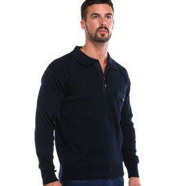 Pull homme laine Marin col polo ARMEL