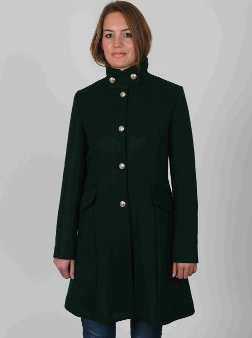 Waisted coat for women with officer's collar made of wool BRIGHTON