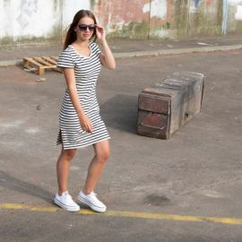 TOURS robe femme courte rayée