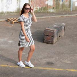 TOURS short dress women in striped cotton