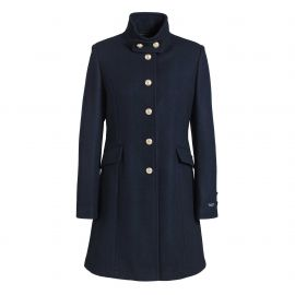 Waisted coat for women with officer's collar BRIGHTON