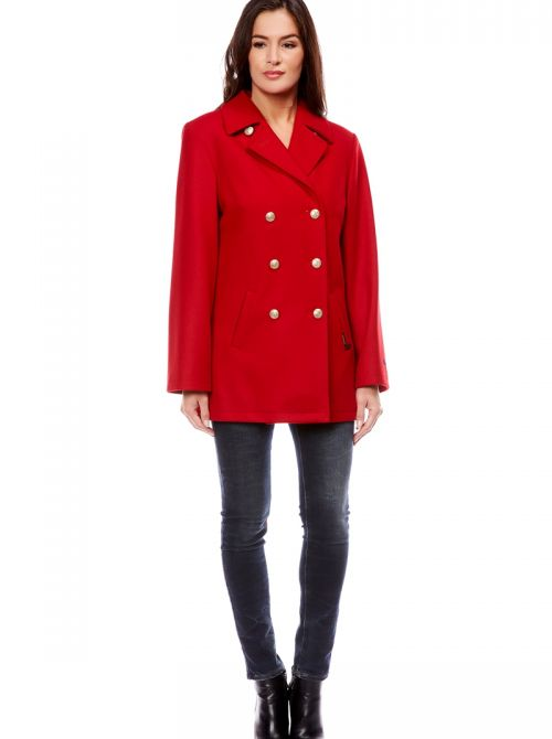 OUESSANT Pea coat women straight cut made of wool