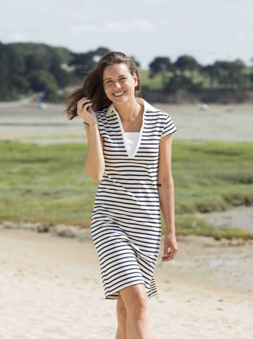 Long dress in striped cotton TOLEDE