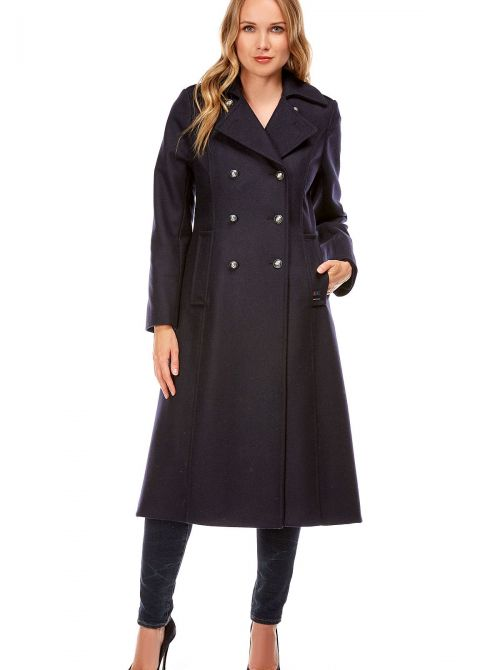 Long and waisted coat for women made of wool CARNAC